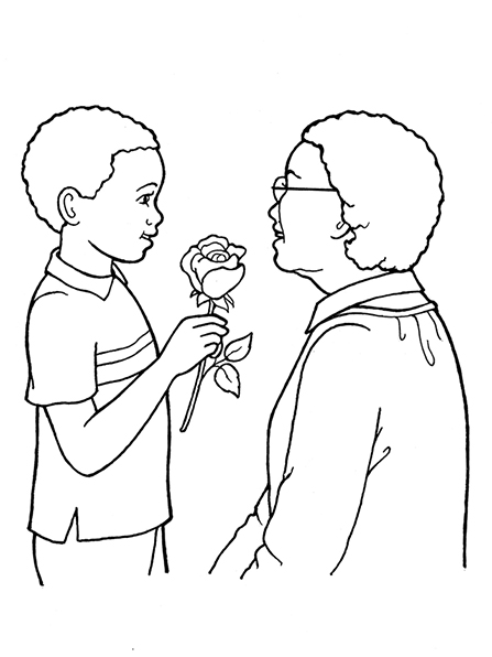 Boy Giving Flowers To An Older Woman