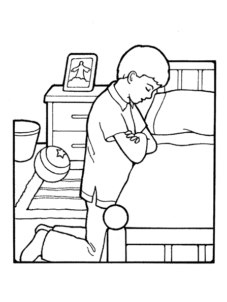A black-and-white illustration of a boy kneeling to pray next to his bed with a framed picture of the resurrected Christ on his nightstand.