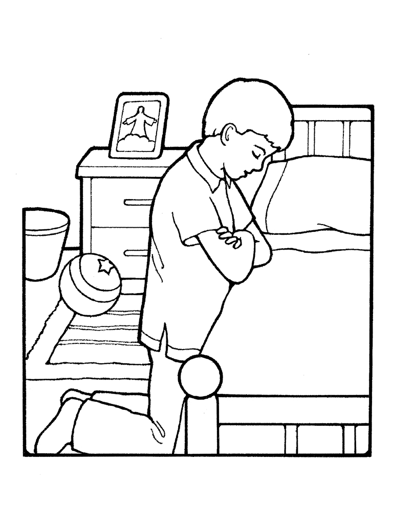 Lds Prayer Coloring Page Prepossessing Boy Praying At Bedside