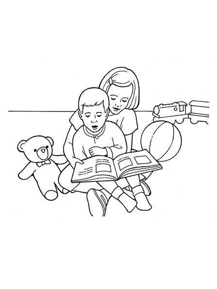 A black-and-white illustration of two young children sitting in a playroom, surrounded by toys and reading a storybook together.