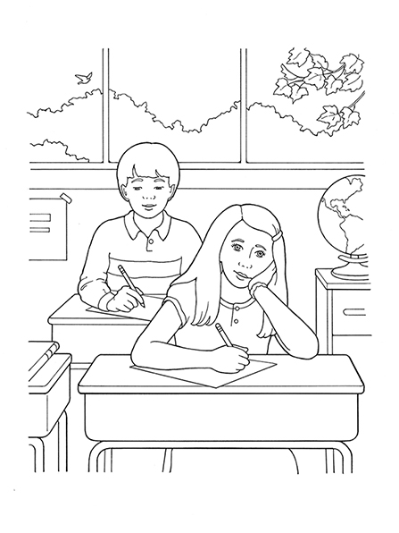 A black-and-white illustration of a girl sitting at a desk in a classroom, listening to a teacher, and holding a pencil, ready to take notes.