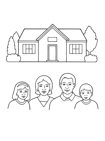 A black-and-white illustration of a house with a few trees outside of it, with an illustration of a family of four beneath it.