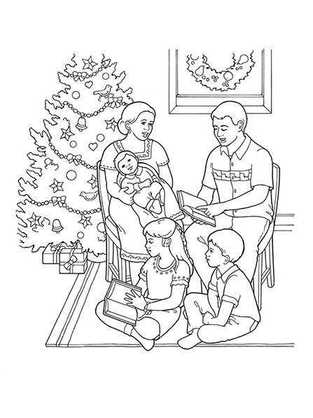 A black-and-white illustration of a family of five sitting near a Christmas tree in their home reading books together.
