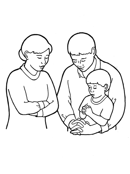 A black-and-white illustration of a mother and father and young son kneeling together with hands folded to pray.