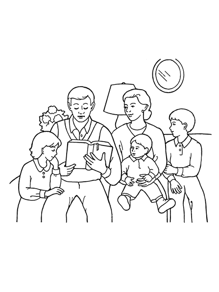 A black-and-white illustration of a family of five in their living room reading scriptures together; a mirror, lamp, and vase of flowers are behind them.