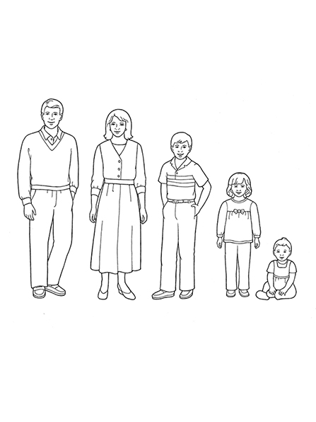 A black-and-white illustration of a family of five standing in a row, except for the baby girl, who is sitting.