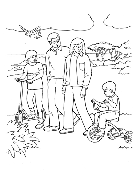 A black-and-white illustration of a family of four in nature with the young boy riding a tricycle and the young girl riding a scooter.