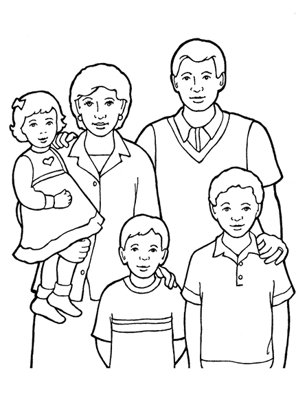 A black-and-white illustration of a family of five standing together, with the mother holding the youngest child, a girl, in her arms.