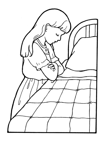 A black-and-white illustration of a girl with long hair folding her arms and bowing her head next to her bed to say a prayer.