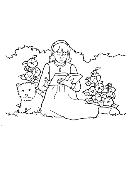 A black-and-white illustration of a young girl sitting next to a dog in a garden amid the flowers and reading from her scriptures.