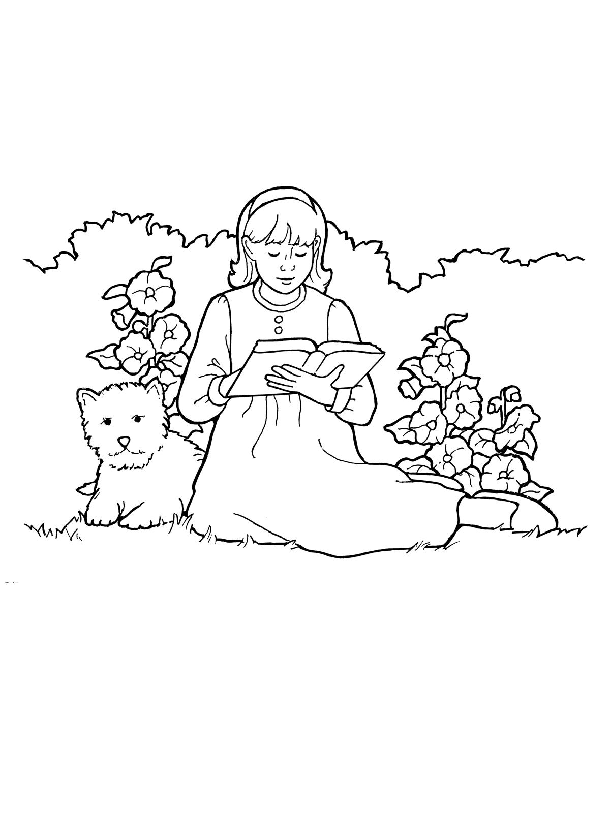 Line Art Home : Girl reading her scriptures