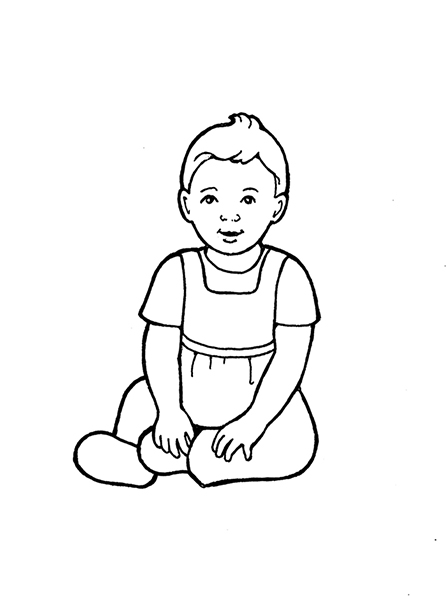 A black-and-white illustration of a baby girl sitting on the floor.