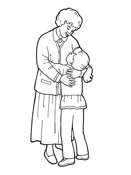 A black-and-white illustration of a grandmother wearing a dress and sweater and hugging her granddaughter, who is looking up at her.