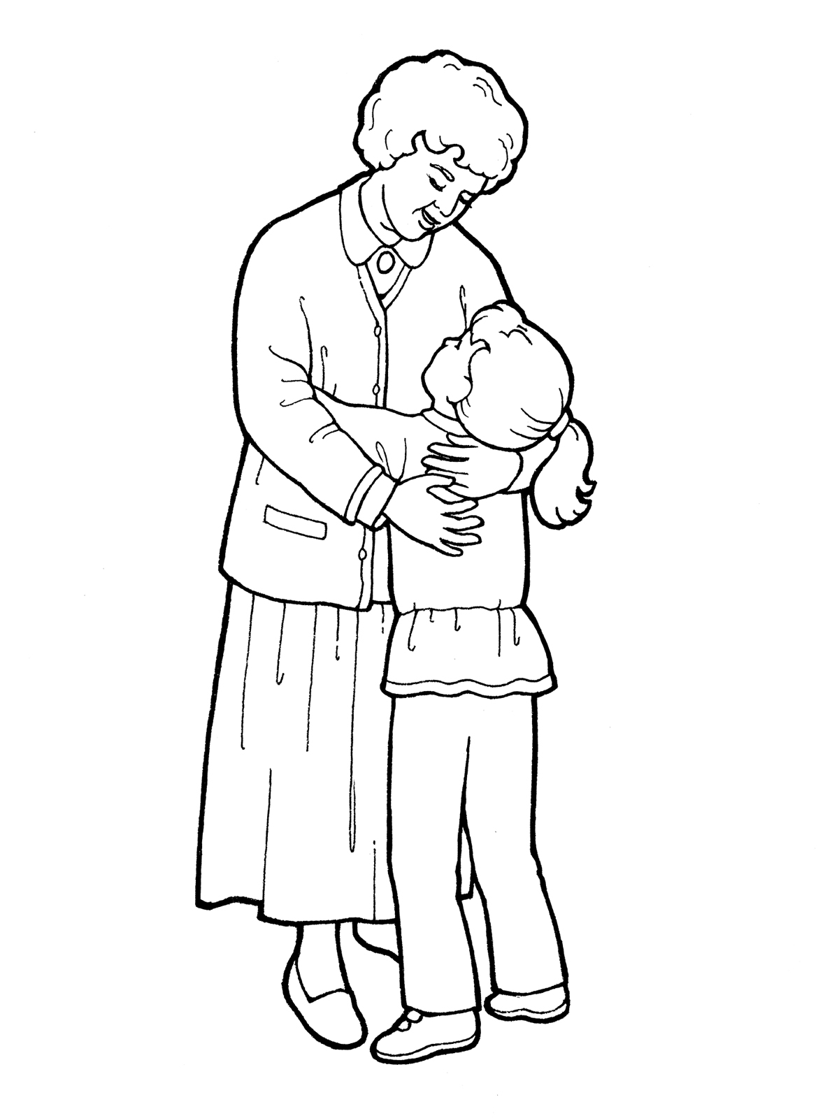 Coloring Page Boy Giving A Rose Girl Hug