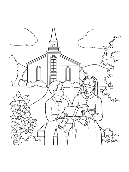 A black-and-white illustration of a young woman and a boy sitting outside of a Church meetinghouse reading the scriptures together.
