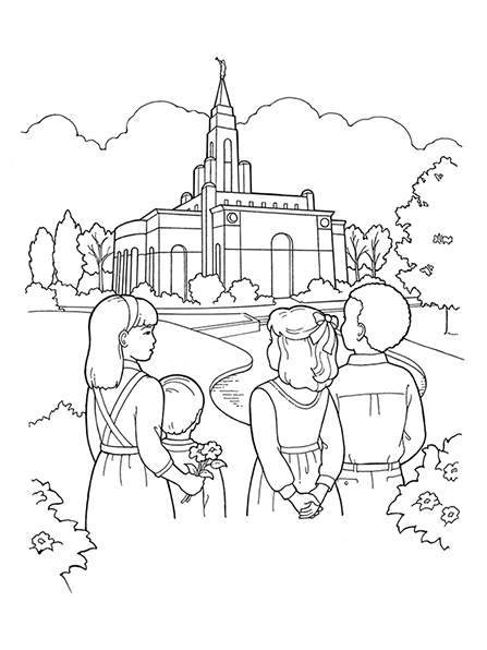 A black-and-white illustration of four children standing together outside of a temple, which is surrounded by plants and trees.