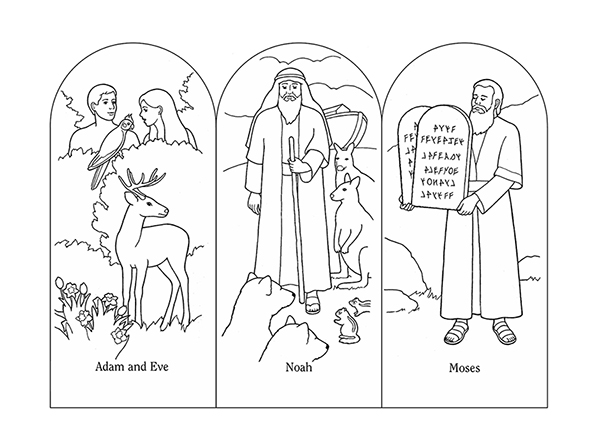 Black-and-white illustrations of scenes from the Old Testament: Adam and Eve in the garden, Noah with the animals, and Moses with the stone tablets.
