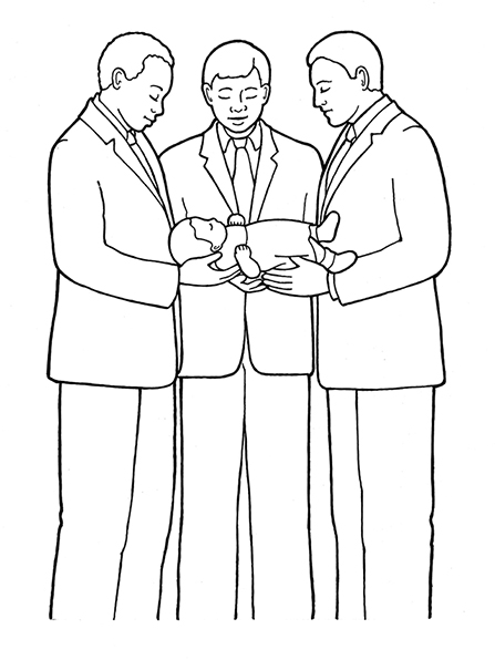 A black-and-white illustration of a group of three men holding a baby in their arms to give the baby a name and blessing.