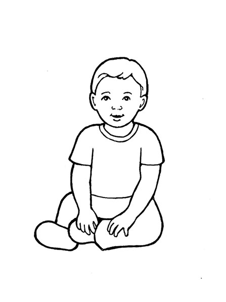 A black-and-white illustration of a baby boy sitting on the floor.
