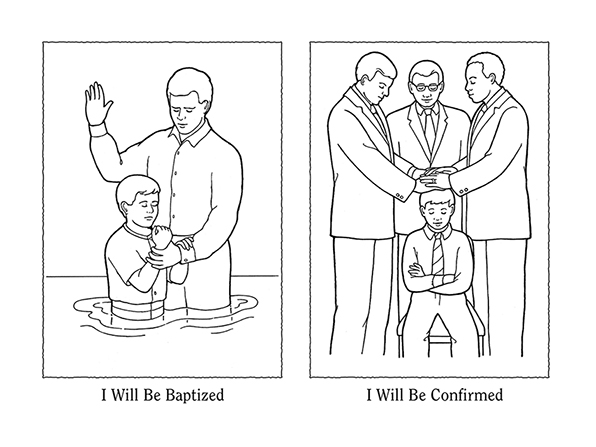 "Black-and-white illustrations of a boy being baptized and then confirmed, next to the words ""I will be baptized"" and ""I will be confirmed."""