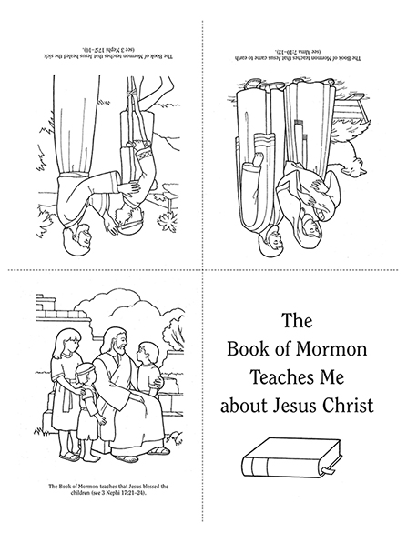 "Black-and-white illustrations of Jesus Christ helping and serving people with the words ""The Book of Mormon Teaches Me about Jesus Christ."""