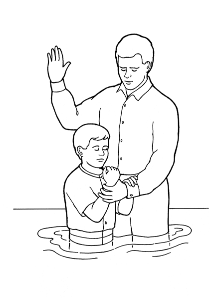 A black-and-white illustration of a father, with his right hand raised, baptizing his son.