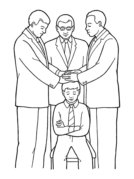 Three men stand in a circle to ordain a young boy (with folded arms) to the priesthood through the laying on of hands.