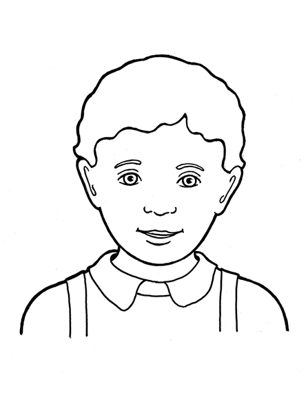 A black-and-white illustration of a Primary-age boy with curly hair wearing a collared shirt and suspenders.