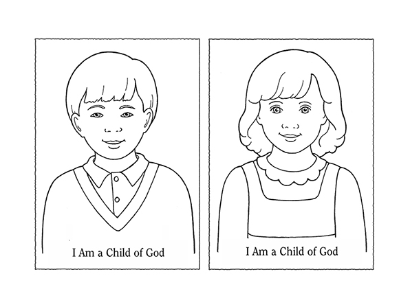 "A black-and-white illustration of a young boy and a young girl next to the words ""I Am A Child of God."""