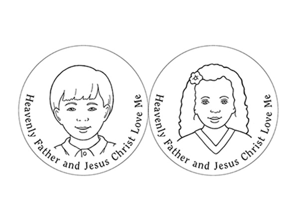 "A black-and-white illustration of a young boy and a young girl surrounded with the words ""Heavenly Father and Jesus Christ Love Me."""
