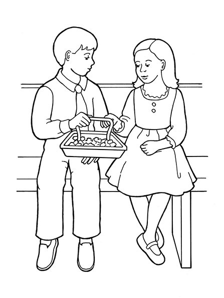 A black-and-white illustration of a young girl and a young boy sitting next to each other in Sunday dress taking the sacrament bread.