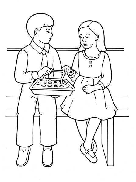 A black-and-white illustration of a young girl and a young boy sitting next to each other in Sunday dress taking the sacrament water.