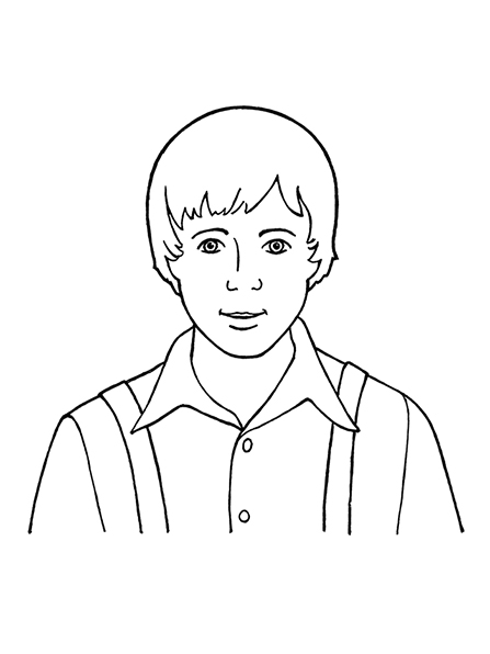 A black-and-white illustration of Joseph Smith as a young boy.