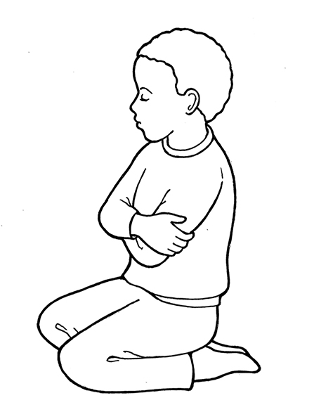 A black-and-white illustration of a boy wearing a simple sweater and pair of trousers kneeling on the ground in prayer.