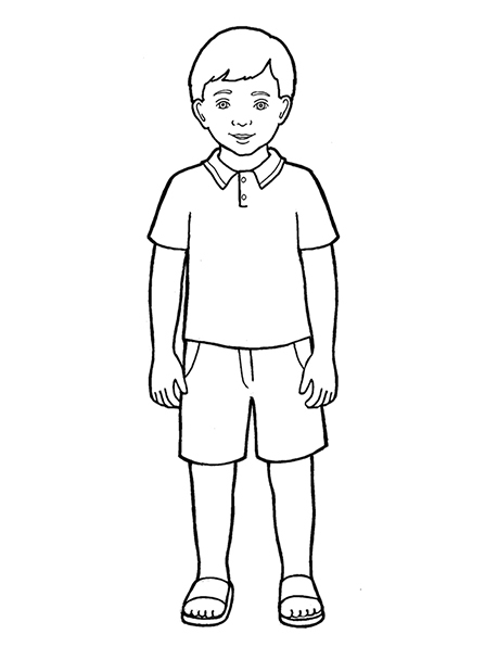 A black-and-white illustration of a Primary-age boy wearing a polo shirt with shorts and a pair of sandals.