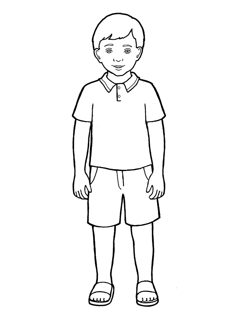 Line Drawing Boy : Primary boy standing