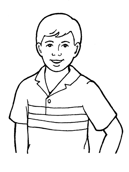 A black-and-white illustration of a young man wearing a collared shirt with three stripes on it.