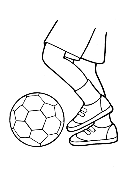 A black-and-white illustration of a pair of feet with tennis shoes on and kicking a soccer ball.