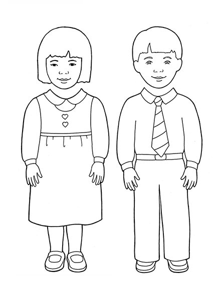 A black-and-white illustration of a Primary-age boy and girl, meant to be cut out and made into puppets.