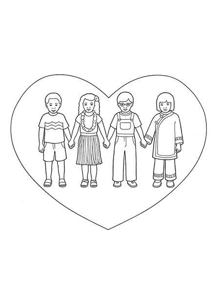 A black-and-white illustration of four children from around the world holding hands with a simple heart drawn around them.