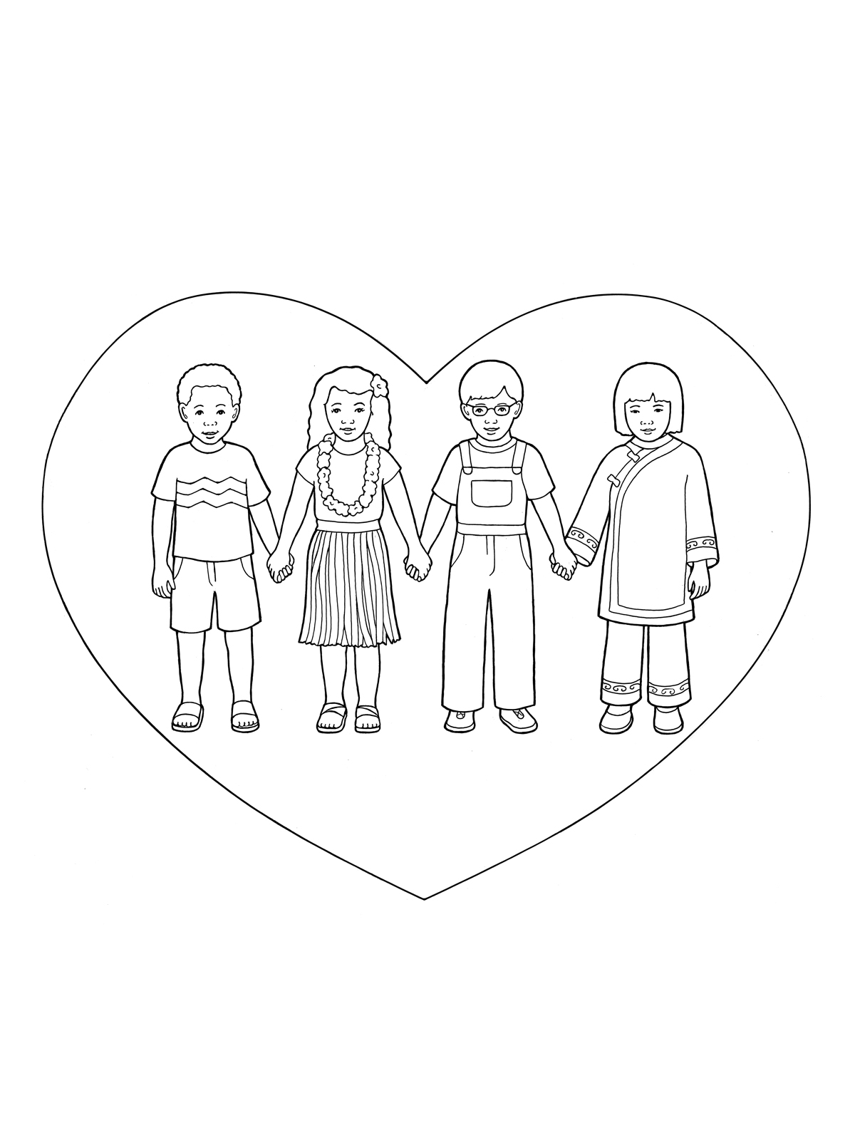 Children Holding Hands in Heart