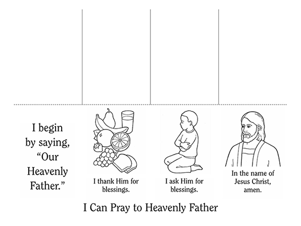 Black-and-white illustrations of things that children can pray over, such as food, with instructions of how to say a simple prayer below the images.