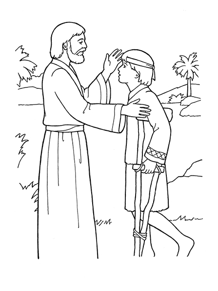 A black-and-white illustration of Jesus Christ healing a young boy who is sick and using crutches.
