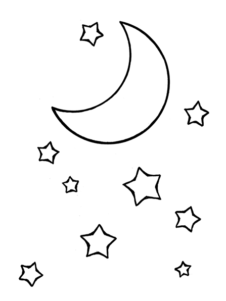A black-and-white illustration of the moon and stars.