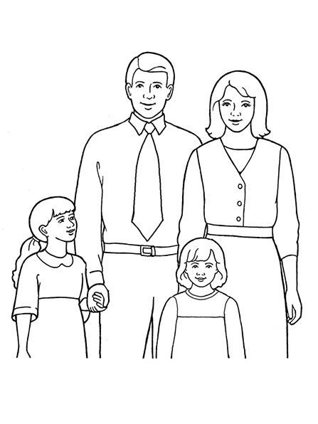 A black-and-white illustration of a family of four with a mother, father, and two daughters, one of whom is holding her father's hand.