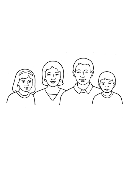A black-and-white illustration of a family of four: a mom and dad with a young daughter and a young son.