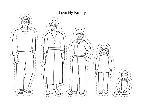 "Black-and-white illustrations of five family members—a mother, father, and three children—and the words ""I Love My Family"" at the top."