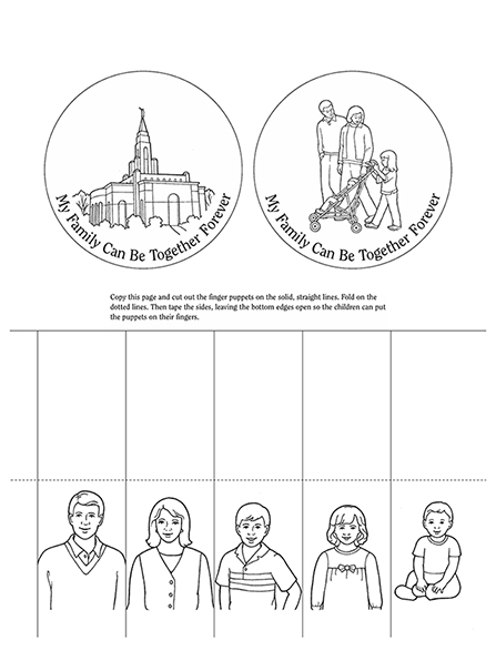 "Black-and-white illustrations of family members and the temple, next to the words ""My Family Can Be Together Forever."""