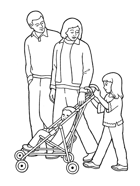 A black-and-white illustration of a family walking together, with a toddler-aged boy in a stroller being pushed by a young girl.