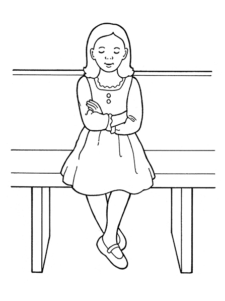 A black-and-white illustration of a Primary-age girl in a dress, sitting on a bench with her arms folded and her eyes closed.